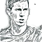 Eden Hazard Chelsea Pencil & Ink Sketch by chrisjh2210