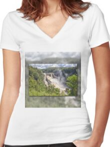 Tropical water fall Women's Fitted V-Neck T-Shirt