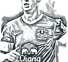 Kevin Mirallas Everton Pencil & Ink Sketch by chrisjh2210