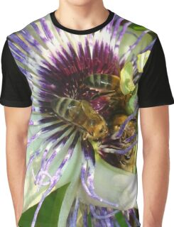 Close Up Of  Passion Flower with Honey Bee Graphic T-Shirt