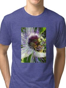 Close Up Of  Passion Flower with Honey Bee Tri-blend T-Shirt