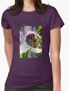 Close Up Of  Passion Flower with Honey Bee T-Shirt
