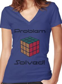 Rubix Cube - Problem Solved. Women's Fitted V-Neck T-Shirt