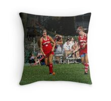 090712 050 1 stained glass field hockey Throw Pillow