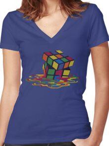 Rubix Cube - Melting Women's Fitted V-Neck T-Shirt
