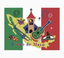Cinco de Mayo with Mexican Flag Kids Tee