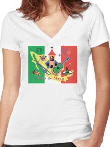 Cinco de Mayo with Mexican Flag Women's Fitted V-Neck T-Shirt