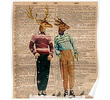 Antique Dictionary Page Snow Ski Deer Poster