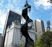 Sculpture at Central Park, Plaza Hotel, One57 Skyscraper in Backround, New York by lenspiro