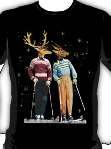 Antique Dictionary Page Snow Ski Deer T-Shirt