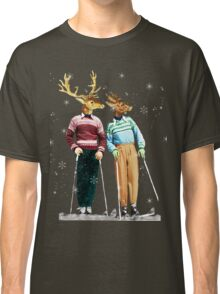 Antique Dictionary Page Snow Ski Deer Classic T-Shirt