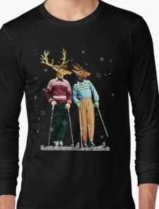 Antique Dictionary Page Snow Ski Deer Long Sleeve T-Shirt
