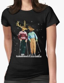Antique Dictionary Page Snow Ski Deer Womens Fitted T-Shirt