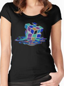 Rubix Cube - Melting. Women's Fitted Scoop T-Shirt