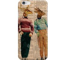 Antique Dictionary Page Snow Ski Deer iPhone Case/Skin