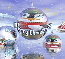 Surrealistic Christmas card with Penguin baubles by walstraasart