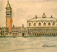 St Mark's Venice, Italy. 2010 ⒸPen and wash. Framed.43x23cm by Elizabeth Moore Golding