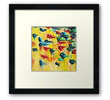 HERE COMES THE RAIN - Abstract Acrylic Painting Rain Storm Clouds Colorful Rainbow Modern Impasto Framed Print