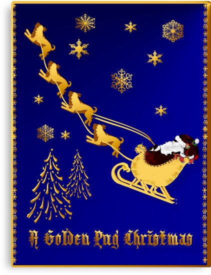 A Golden Pug Christmas Poster by Lotacats