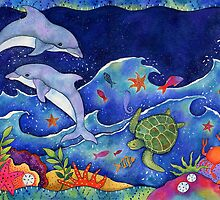 Dolphins Leaping by Janet Broxon