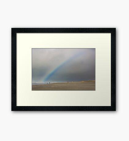 Rainbow over Seaside Beach Framed Print