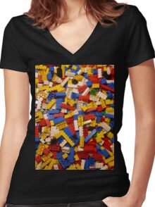 Lots of Lego Women's Fitted V-Neck T-Shirt