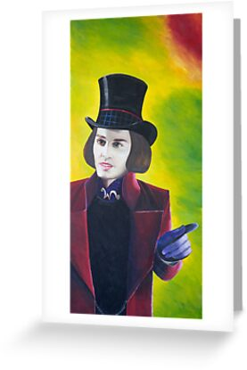 Willy Wonka Johnny Depp Greeting Cards & Postcards by Sharyn