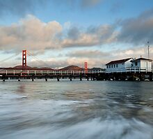 Old Coast Guard Station and Golden Gate  by Scott Sawyer