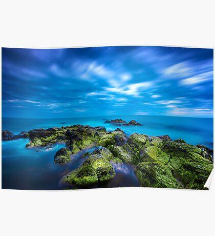 Dusk over calm blue sea over ocean and cloudy sky in Port Fairy, Victoria, Australia Poster