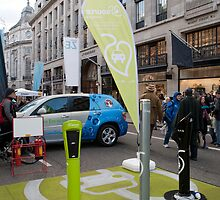Several different Electric car charging points on show in Regent Street London by Keith Larby