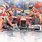 Ferrari F 2012 Fernando Alonso Pit Stop by Yuriy Shevchuk