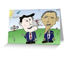 Caricature of Romney and Obama before Election Day Greeting Card