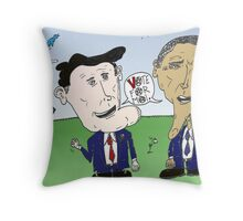 Caricature of Romney and Obama before Election Day Throw Pillow