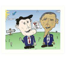 Caricature de Romney et Obama avant le jour du scrutin Art Print