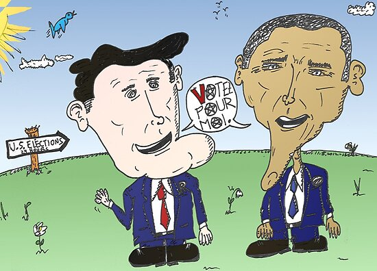 Caricature de Romney et Obama avant le jour du scrutin by Binary-Options
