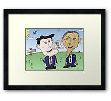 Caricature de Romney et Obama avant le jour du scrutin Framed Print