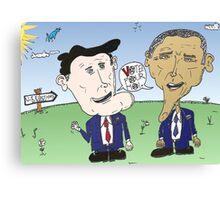 Caricature de Romney et Obama avant le jour du scrutin Canvas Print