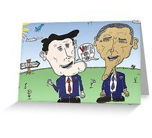 Caricature de Romney et Obama avant le jour du scrutin Greeting Card