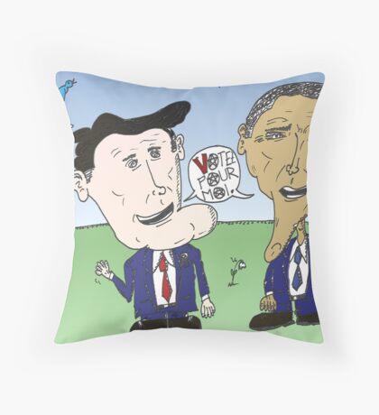 Caricature de Romney et Obama avant le jour du scrutin Throw Pillow