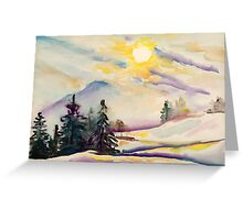 Misty Winter Afternoon In The Alps Greeting Card