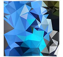 Air Force Blue Abstract Low Polygon Background Poster
