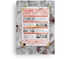 Zombie Survival - Quick Start Guide Metal Print
