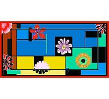 Blocks and flowers Photographic Print