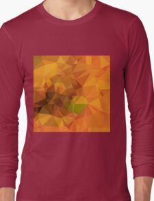 Deep Carrot Orange Abstract Low Polygon Background Long Sleeve T-Shirt