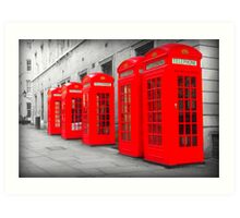 Telephone Boxes Art Print