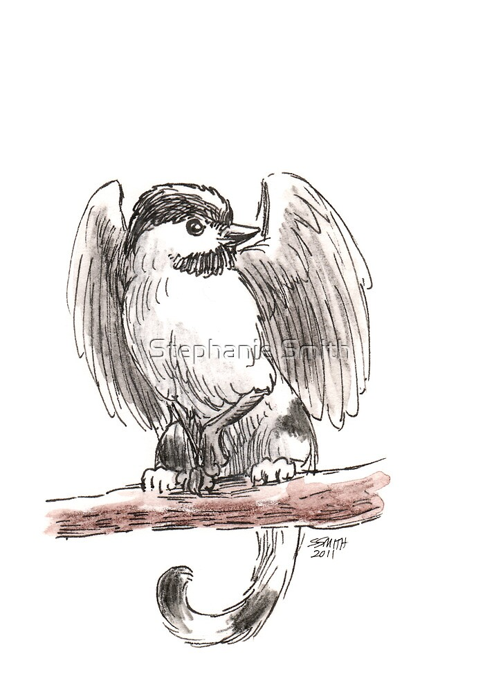 Sketch -- Mythological House Griffin, Chickadee Variety by Stephanie Smith
