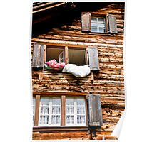 Airing the duvets in Golzern Poster