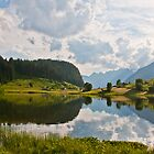 Golzern reflected in the lake, Canton Uri, Switzerland by Michael Brewer