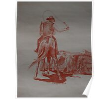 Red Series- Cowboy Draggin  Calves Poster