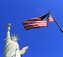 Statue of Liberty and American Flag by Frank Romeo